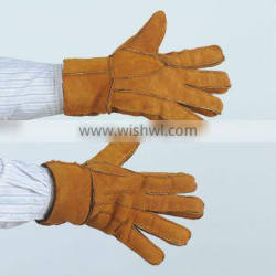 patchwork sheep fur leather working glove
