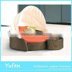 Sofa bed rattan outdoor round sunbed with canopy