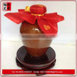 customize brown ceramic wine bottle with lids