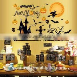 Halloween Theme Castle Pumpkin Bat Window/Wall Sticker Halloween Decoration Home Decoration