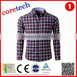 brushed breathable check shirt factory
