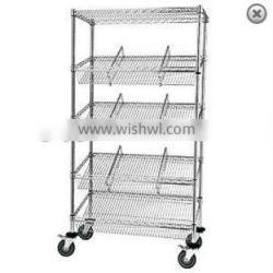 Hospital Mobile Storage Chrome Wire Suture Trolley