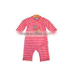 """factory price """"Roly-poly toy"""" printed stripe baby girls romper kids applique jumpsuit"""