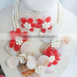 Natural design with freshwater pearl beads and shell flower jewelry necklace and earrings