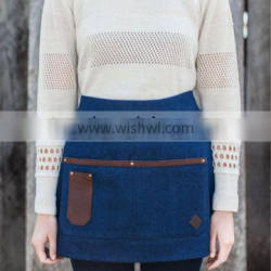 Super Quality Blue Denim and Leather Half Apron Made in China