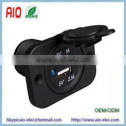 PA66 waterproof 12V Car Modification USB Interface Converter Dual USB 5V 3.1A Output Car Charger with Front Panel