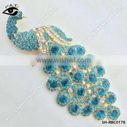 Peacock blue Rhinestone brooch pins blue zircon color brooches for garment