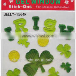 glass jelly sticker, St. Pat's Day,size 20*20*0.3cm, conform to EN71