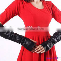 ZF3609 Fashion beautiful girl's leather fingerless gloves