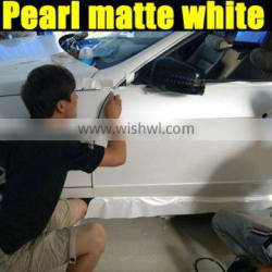 Pearl white matte film with air free bubbles 1.52*20m with top quality