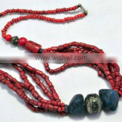 Multi Strand 2013 fashion red necklace coral bead red stone necklace