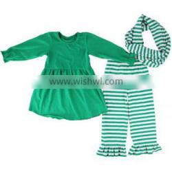Fall boutique girl clothing set boutique cotton children costume baby girls ruffle sets