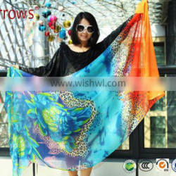 2015 Custom Lady Fashion Cotton Voile Shawl and Scarf Fresh Leopard Peony Printing for Spring Autumn