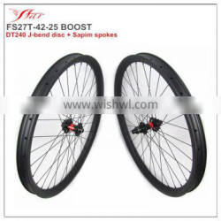 Chinese cheap moutain bike wheels 42mm 25mm clincher rims, hookless & tubeless compatible boost carbon bicycle wheels 32H/32H