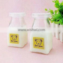 130ml square empty milk pudding glass bottle with plastic cap Supplier's Choice