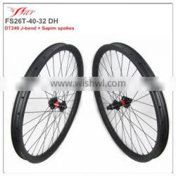 26er fatrims 40mm wide 32mm deep carbon clincher for fatbike, competitive fatbike rims with J-bend disc hub 6 blots 32H/32H DH