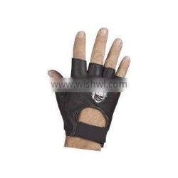 HMB-2015A LEATHER FINGERLESS GLOVES SKELETON EMBROIDED STYLE