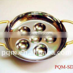 6 holes high grade stainless steel snail dish with two handles 001