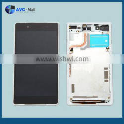 china mobile LCD screen and touch assembly with frame for Sony Xperia Z2 L50 white