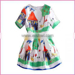 summer cartoon printing dress cute girl short dress with lining fashion design short sleeves chiffon dress