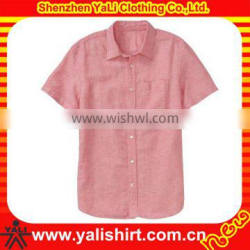 short sleeve pocket classic solid color men linen shirts