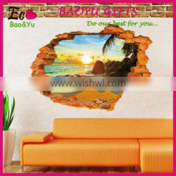 3D Removeable Beach And Sunshine Picture Wall Stickers Home Decor