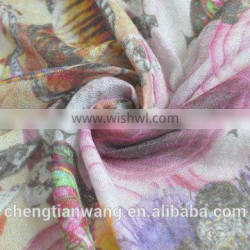 hair accessory fashion digital print 100% purple cashmere scarf cashmere