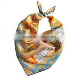 Golden Printed Silk Scarf/Head wears