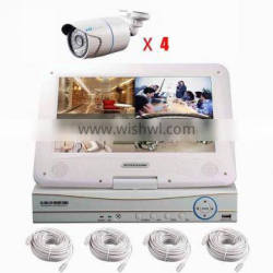 4ch 4pcs poe nvr ip security camera system with monitor p2p onvif cloud