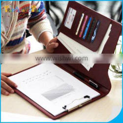 Leather Menu Clipboard With A4 Notepad And Pockets,Custom Restaurant PU Menu For Waiter