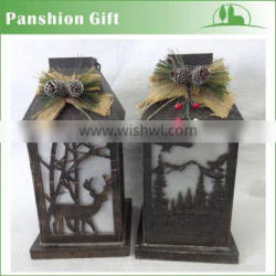 hanging handmade wood lantern for x'mas