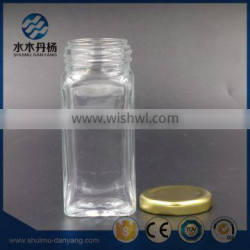 100ml renctangle clear glass spice bottle with metal lid