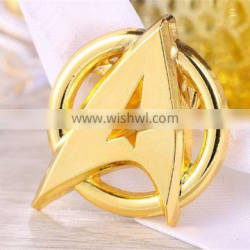 custom gold plated metal star shape lapel pin badge with your design