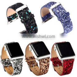 Extreme Deluxe Bling Glitter Leather Bracelet for Apple Watch Band