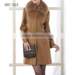 100% Cashmere Coat with Fur collar for women