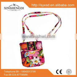 wholesale high quality floral quilted cotton crossbody purse,mini crossbody bag
