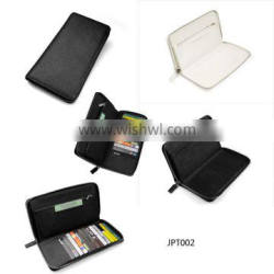 zipper saffiano leather card ticket passport holder with big capacity