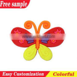 Widely use multi-color butterfly design PVC soft charms