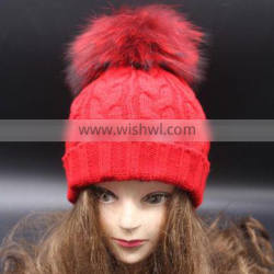 2015 coolorful knitted woolen hat with fur pompoms