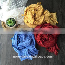 promotional long plain color tassels neck infinity scarf