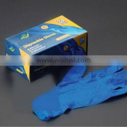 Custom clear and blue, powder vinyl exam gloves for medical, industrial and food check