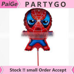 Wholesale Spiderman Balloons air foil Balloon stick For Kids Toys Jump Type 14.5inch Balloon