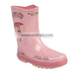 girls pink customized logo printed rain boots,elegant kids rubber boots,factory best price wholesale gum boots