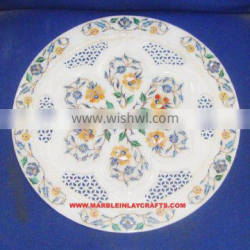 Pietra Dura Marble Inlaid Plate Home Decorative Marble Inlay Plate