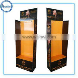 Hair store hair extension cardboard floor stand display with hanging hooks