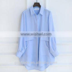 Stand Collar Long sleeve Tops Latest Fashion Blouse Design for Women