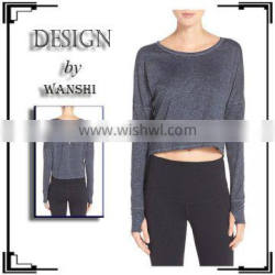 Wholesale Long sleeves with thumbholes cuffs crop top women clothing