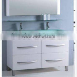 floor standing glass basin with bathroom cabinet