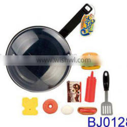 Funny plastic cooking pan toys and food toys set