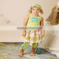 Special design stripes floral print 3pcs baby girls boutique outfit for wholesale